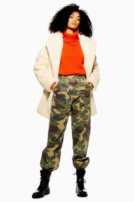 Topshop Camouflage Cuffed Utility Trousers