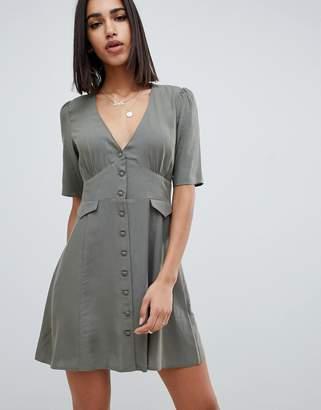 Asos DESIGN button through mini skater dress with pockets