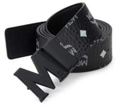 MCM Men's Logo-Print Belt - Black