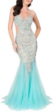 Terani Couture Glamour by Embellished Tulle Dress