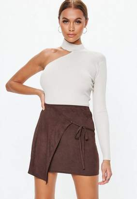 Missguided Chocolate Faux Suede Wrap Skirt