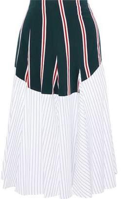 Tome Godet Paneled Striped Cotton-Poplin Midi Skirt