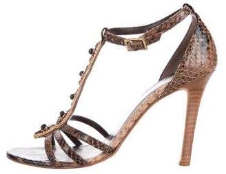 Andrew Gn Embellished Snakeskin Sandals