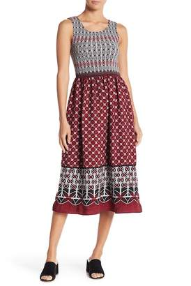 Max Studio Smocked Bodice Printed Midi Dress