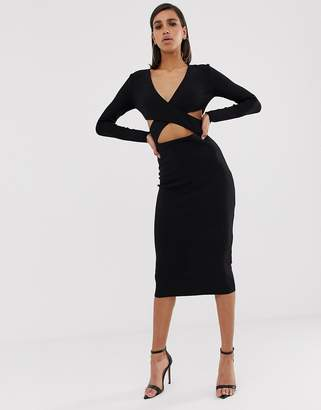 Bec & Bridge madame noir cut out midi dress