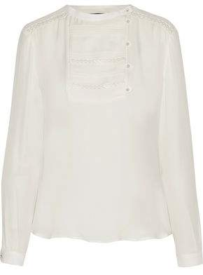 Belstaff Dena Lace-Trimmed Pintucked Silk-Chiffon Blouse