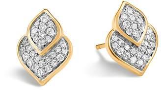 John Hardy 18K Yellow Gold Legends Naga Pavé Diamond Stud Earrings