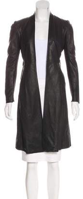 Rick Owens Leather Knee-Length Coat