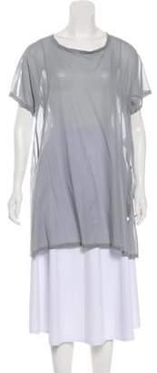Issey Miyake Semi-Sheer Short Sleeve Tunic Grey Semi-Sheer Short Sleeve Tunic