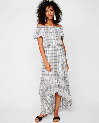 Express Petite Plaid Ruffle Off The Shoulder Maxi Dress