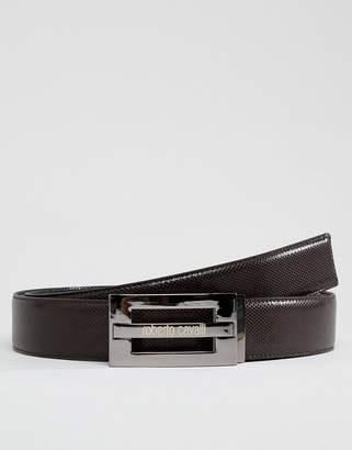 Roberto Cavalli Skinny Logo Leather Belt