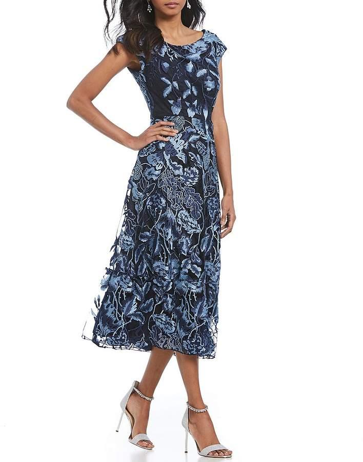Eva Franco Embroidered Midi Dress