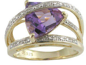 JCPenney FINE JEWELRY Genuine Amethyst and Diamond-Accent Crisscross Ring