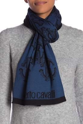 Roberto Cavalli Wool Blend Monogrammed Scarf