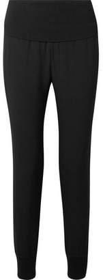 Theory Kensington Ribbed Knit-trimmed Crepe Track Pants - Black