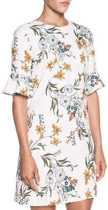 Autumn Floral Fluted Sleeve Dress