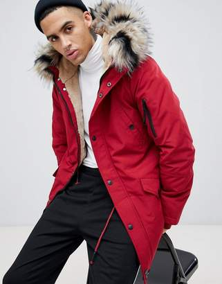 c1e01be33e91 Sixth June parka coat in red with black faux fur hood