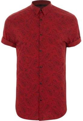 River Island Red paisley print slim fit short sleeve shirt