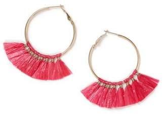 Miss Selfridge Pink raffia earrings