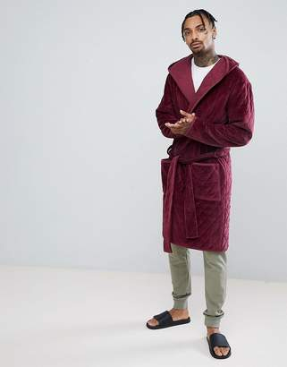Asos Hooded Dressing Gown Quilted In Velour