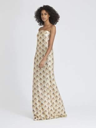 Oscar de la Renta Fan-Embellished Silk-Chiffon Gown