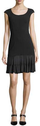 Rebecca Taylor Terri Round-Neck Sheath Dress with Flounce Hem