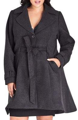 City Chic Plus Frilled Back Long-Sleeve Coat