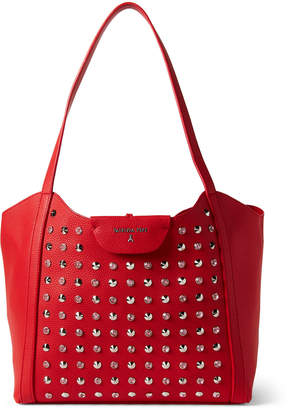 Patrizia Pepe Crystal & Cone Studded Red Shopper Bag