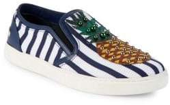 Dolce & Gabbana Striped Embellished Slip-On Sneakers
