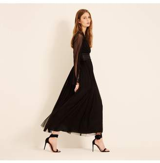 Amanda Wakeley Black Silk Tulle Midi Dress