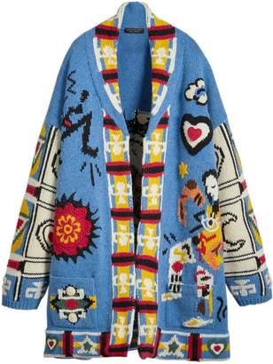 Burberry Wool Graphic Intarsia Cardigan
