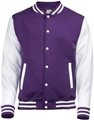 Awdis Unisex Varsity Jacket Purple/White