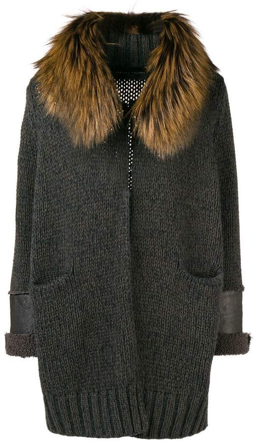 fur-trim fitted cardigan