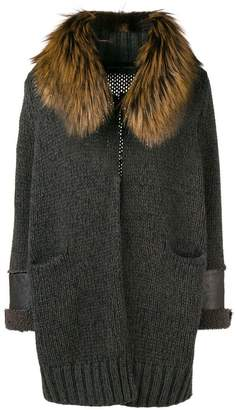 Fabiana Filippi fur-trim fitted cardigan