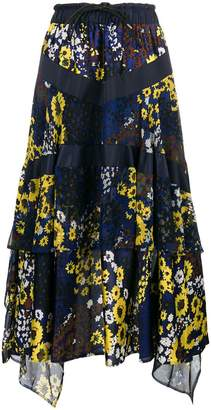 Sacai flared floral midi skirt
