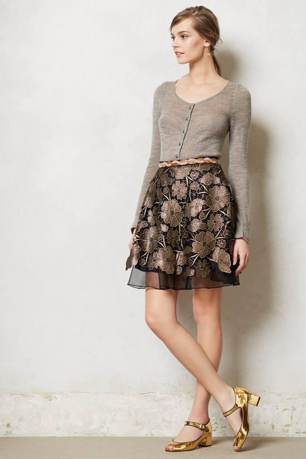 Anthropologie Gilt Bouquet Skirt