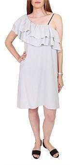 Wite Mini Stripe Ruffle Dress