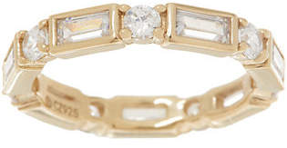 Diamonique Baguette and Round Eternity Band,Sterling or 14K