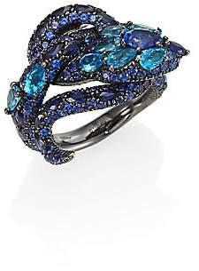 Gucci Women's Le Marché Des Merveilles Blue Topaz, Sapphire& 18K White Gold Ring