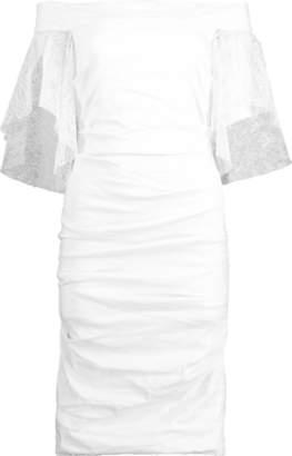 Nicole Miller Cotton Metal Off Shoulder Lace Dress