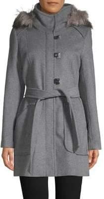 Calvin Klein Hooded Faux-Fur Trim Wool-Blend Coat