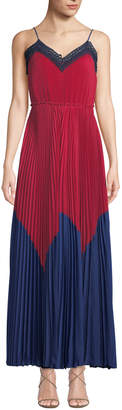 Pinko Pleated Crochet Chiffon Maxi Tank Dress