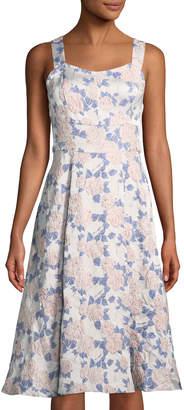 Nanette Lepore Nanette Floral Jacquard Sleeveless A-line Midi Dress