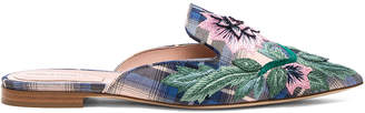 Alberta Ferretti Flower Embroidered Plaid Mules in Blue & White | FWRD