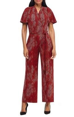 Maggy London Print Flutter Sleeve Jumpsuit