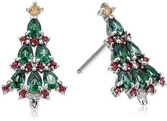 Swarovski Platinum-Plated Zirconia Red and Christmas Tree Stud Earrings