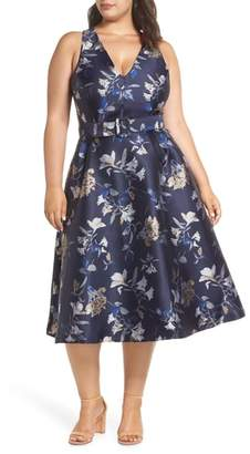 1901 Belted Halter Fit & Flare Dress