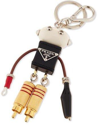 pradaPrada Edward Robot Charm, Black (Nero)
