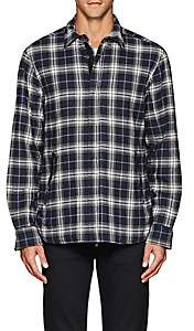 Barneys New York MEN'S PLAID COTTON SHIRT JACKET-BLUE SIZE M