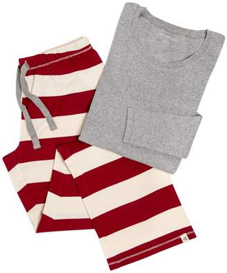 Burt's Bees Rugby Stripe Organic Adult Womens Holiday Matching Lounge Pants & Tee